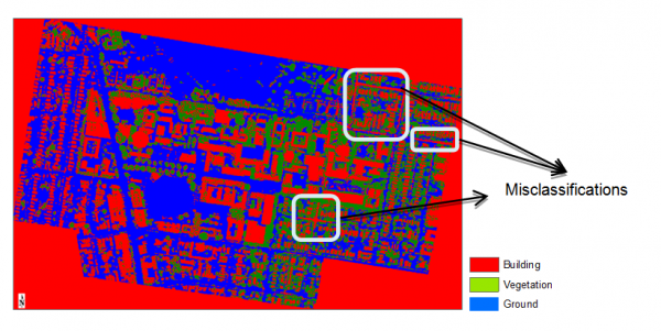 Figure 3: Building classification of 2005 Lidar data using SVM.