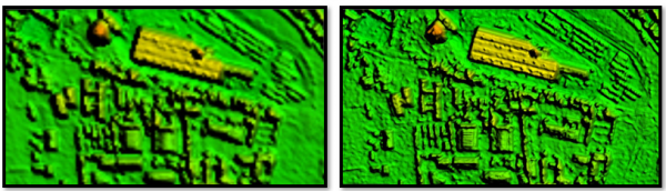 Figure 2a (left): 5m-resolution DTM. Detailed structures are generalized and disappear in the surroundings.   Figure 2b (right): 80cm-resolution DTM. Detailed structures are clearly visible.