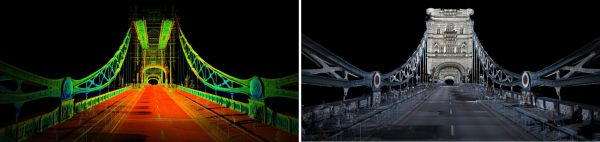 Figure 3: Laser point cloud of Tower Bridge in London, intensity coloured (left) and the point cloud resulting from colourizing from simultaneously captured 360-degree panoramic images.