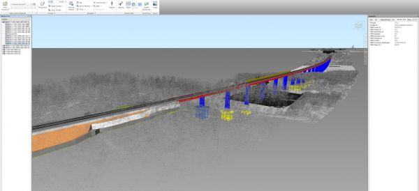 Value engineering stage. A federated BIM model, including a point cloud of the existing situation, a railway track embankment and alignment, and a bridge structure.