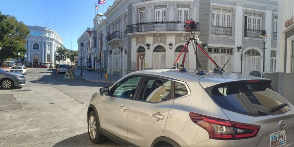 Survey vehicle operating in Ponce. Buildings in Ponce being recorded with panoramic imagery. This records the subtle damage and cracks to buildings.