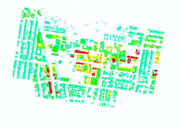 Figure 4: Building points extracted from 2005 Lidar data and classified by object-based methods in ERDAS.