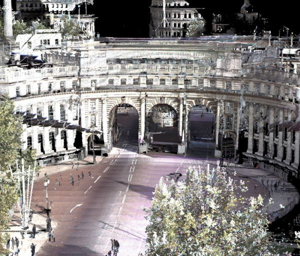 Figure 2: Mobile laser scan of Admiralty Arch on The Mall in London, coloured from simultaneously captured 360-degree panoramic images.