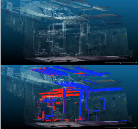 Figure 5a (top), Pipe scan and 5b (bottom), Automatic Pipe Recognition in a Boiler Room 3.5 million point cloud; 98% cylinders correctly found (2 aligned scans red and blue).