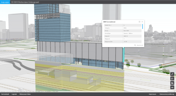 Figure 1: BIM data embedded in their environment (ArcGIS 3D web scene, displayed with map.apps)