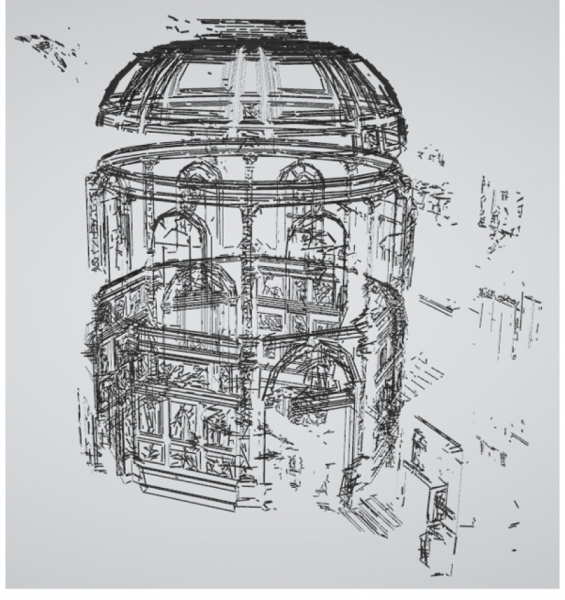 Figure 4: Automatic Edge Detection followed by fitting of straight-line segments in UCL circular/octagonal library under the iconic central dome (21 aligned scans)