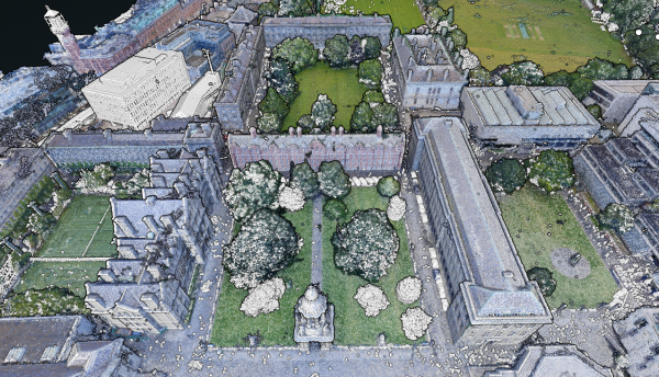 Figure 5: The white points show the differences between the 2017 and 2015 data of the TCD campus.