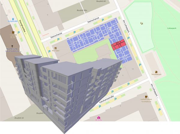 Figure 3: Automatically generated and georeferenced floor plans from open-source BIMserver on Open Street Map (OSM).