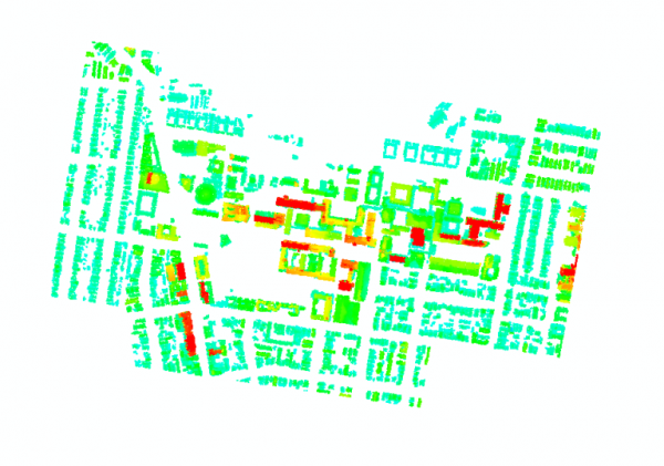 Figure 5: Building point extracted from 2008 Lidar data and classified by object-based methods in ERDAS.